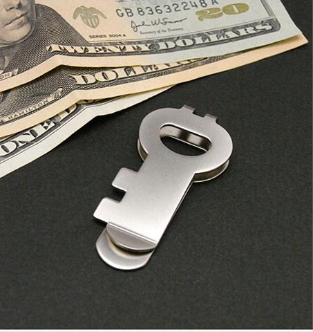 Key shape silver moneyclip-SLIP-ON