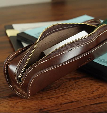 Full leather pencil case U-shape-munekawa